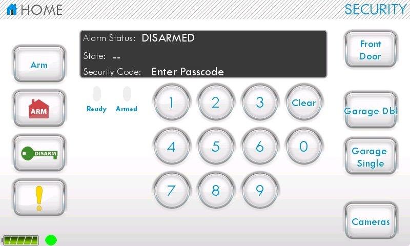 露出した家庭用警報システムの管理画面