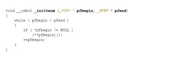 図1:改ざんされたランタイム関数「_initterm()」