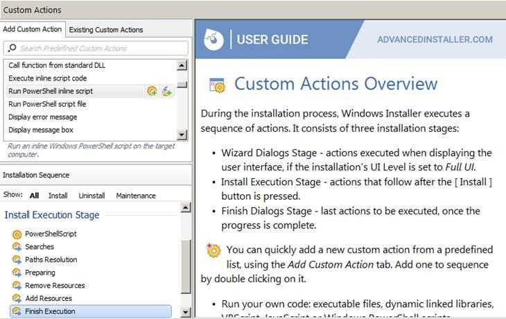 図14:「Advanced Installer」のカスタムアクション追加画面