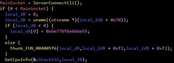 図4:感染したシステムのCPU情報を窃取するAESDDoSの亜種のコード