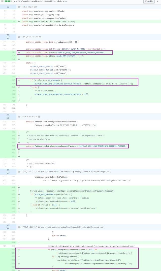 図6:修正プログラムで追加された「Apache Tomcat」のコード