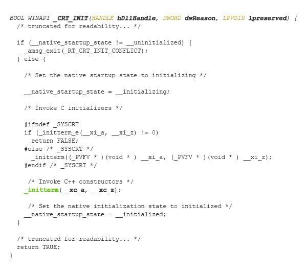 図7:関数「_CRT_INIT()」の実装