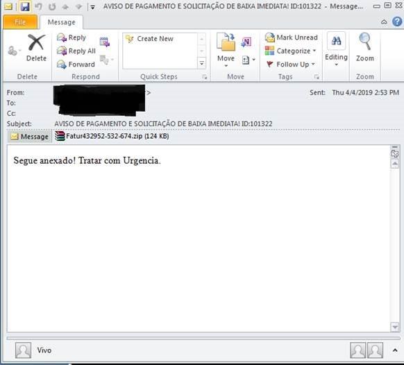 図9:「.zip」ファイルが添付されたスパムメール