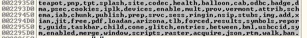 URIに使用された単語を含む複合したメモリダンプ