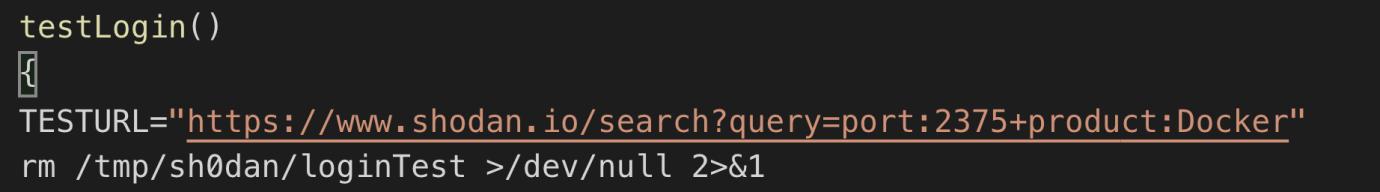 図5: 「Shodan」にログインし、デフォルトポートが開いたDockerホストを検索するために使用された関数のコード