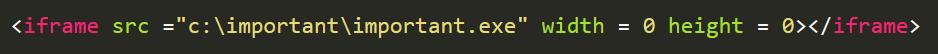 感染したHTMLファイルに追加されたiframeタグ
