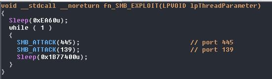 445番および139番ポートに対するSMBの脆弱性を突く攻撃