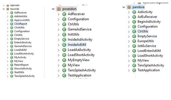 図3:類似したコード構造とスタイルを示すさまざまなアプリのパッケージ