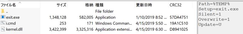 図10: SFXRARから抽出された3つのファイル