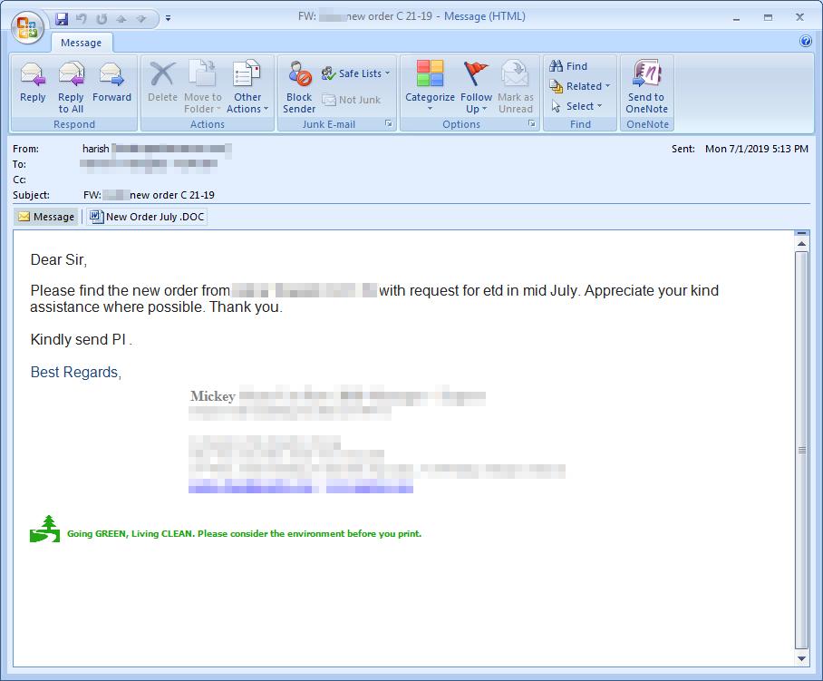 図1:LokiBotを拡散する電子メールの検体