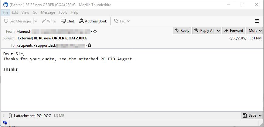 図3:「VirusTotal」で見つかった類似したメールの検体の一つ