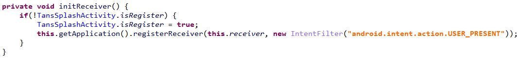 図4:ブロードキャストレシーバーを登録するコード