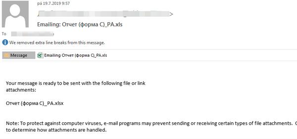 図4:エクセルファイルが添付されたEメール