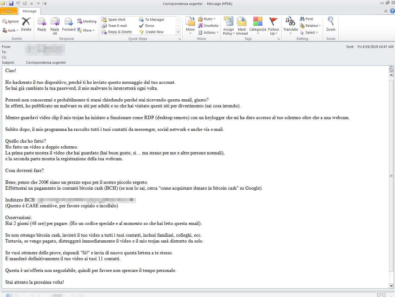 図3:イタリア語を話すユーザを狙ったセクストーションメール