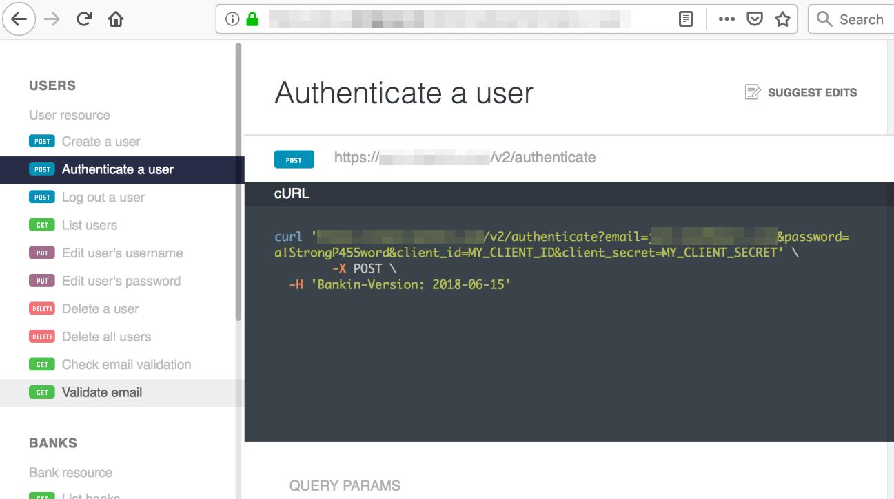 図4:あるフィンテック企業が利用するAPIのオンラインドキュメント。PSD2に準拠していると書かれているが、APIのURLパスに機密情報が明確に確認できる