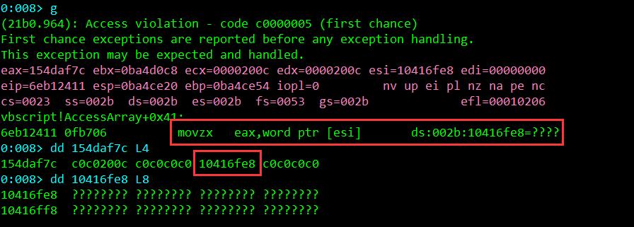 図3:「vbscript!AccessArray」関数でPoCがクラッシュした様子を示すコード