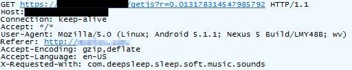 図5:Androidデバイスからの送信を偽装するHTTPSリクエストヘッダ