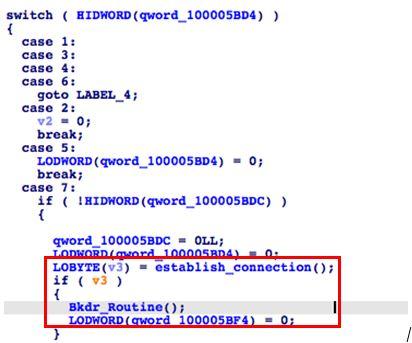 図8:まずサーバの応答を確認し、その上で受信したコマンド番号に応じて特定のバックドア機能が実行される