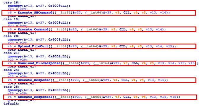 図10:Case 18、19、20、21、24、25のバックドア機能に対応する擬似コード
