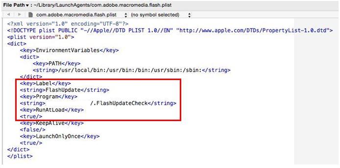 図6:作成された「PLIST」のコード 隠しファイル「~/.FlashUpdateCheck」の自動実行に利用される