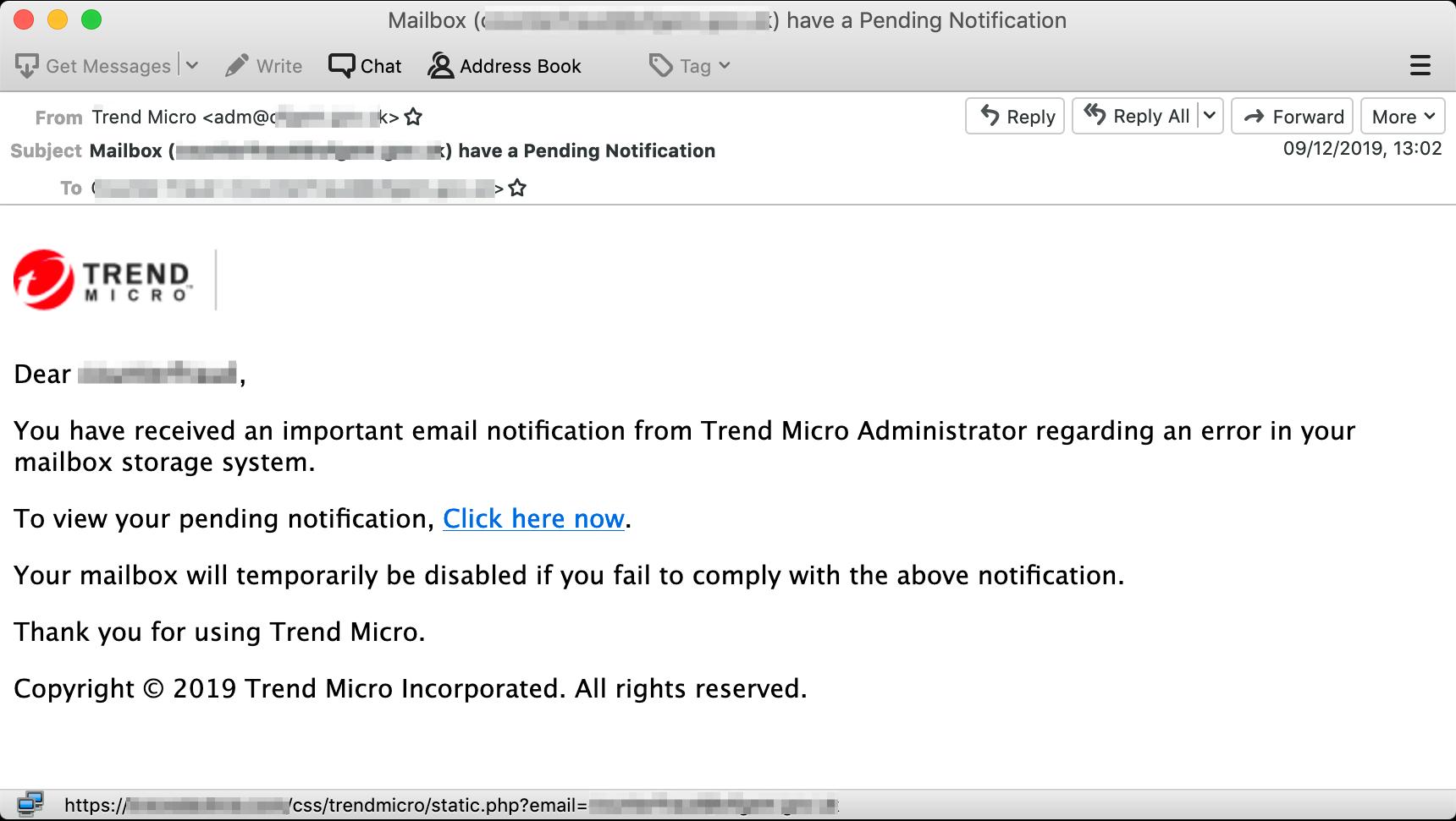 図1:今回確認されたフィッシングメールの例