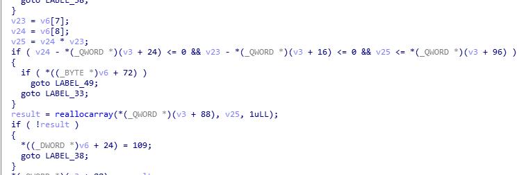 図2:「reallocarray」関数が呼び出される前にサイズがチェックされていないことが確認できるコード