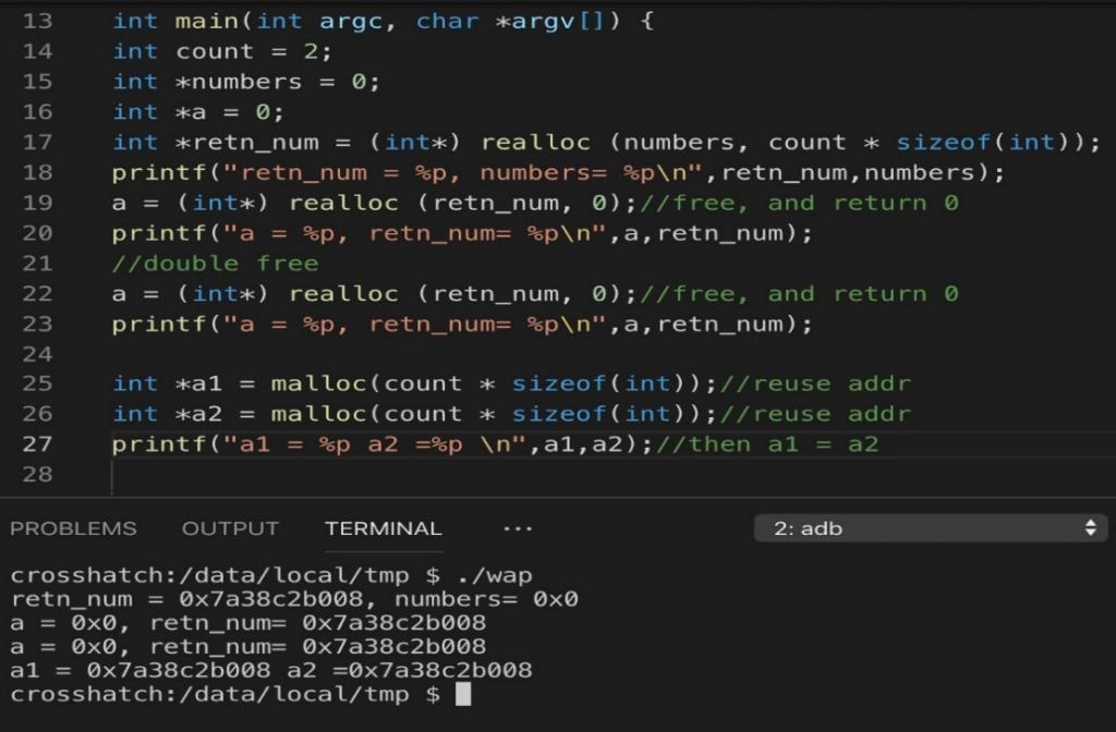 図6:テスト用コードのサンプルとその結果