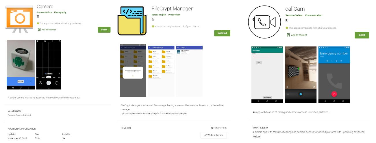 図1:サイバー犯罪集団「SideWinder」との関連が推測される3つの不正アプリ