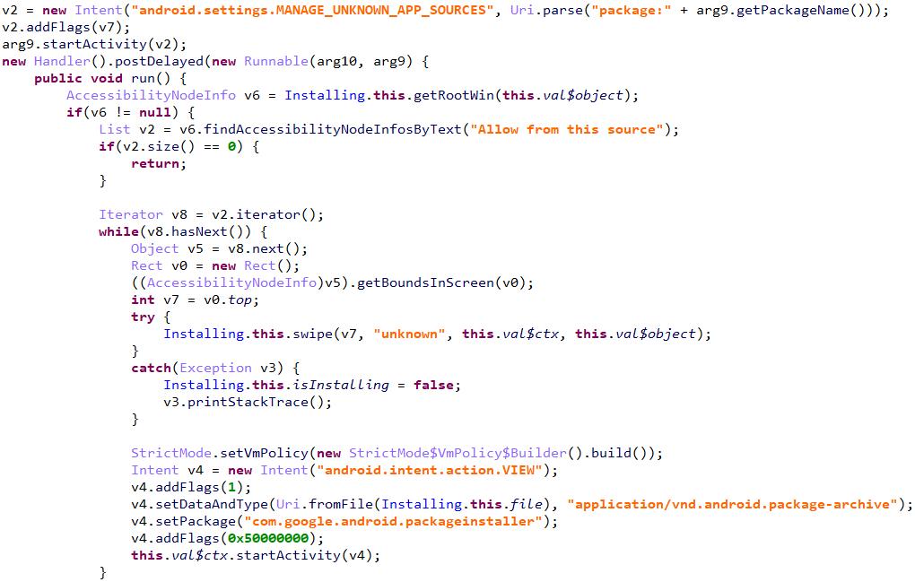 図12:他のアプリや新たなAPKのインストールを可能にするコード