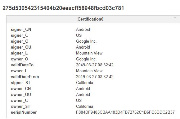 図2:3つのアプリの1つに記載されていた証明書の情報