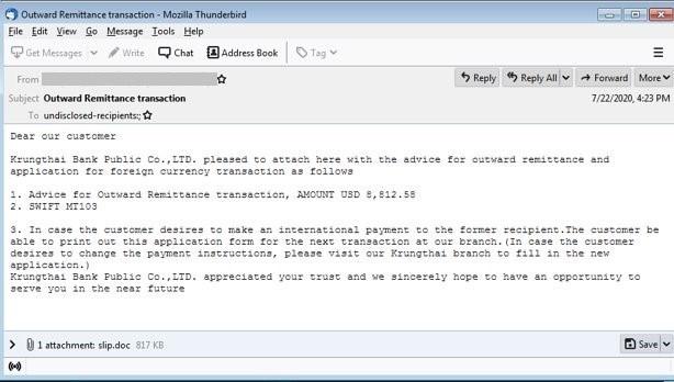 図2:NEGASTEALを含む不正ファイルが添付された電子メールの一例
