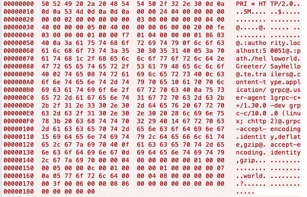 図4:セキュアでないgRPC呼び出しからキャプチャされたパケットの一例