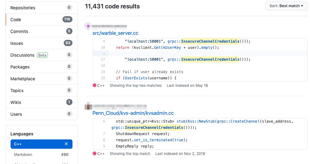 図5:キーワード「InsecureChannelCredentials」を用いたコード検索結果