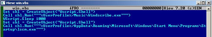 図2:不正ファイルを実行する機能を示す不正ファイル「win.vbs」のコードコンテンツ
