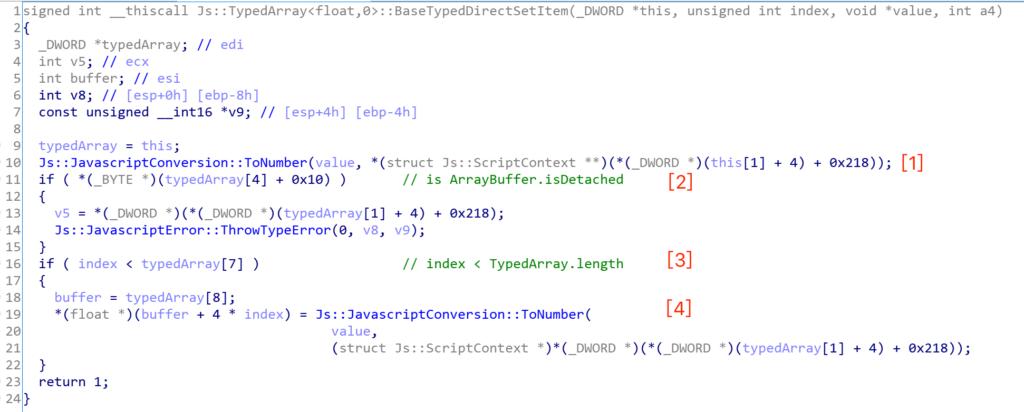 図2:Js::TypedArray<float,0>::BaseTypedDirectSetItemのコードスニペット