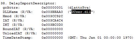 図4:shell32ライブラリの遅延インポートとして機能するDUserライブラリ
