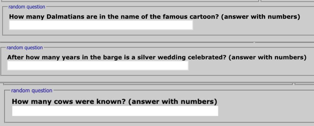 図7:captchaシステムの代わりに使用される質問の例