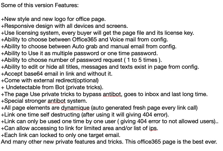 図10:ソーシャルメディア上に投稿されたフィッシングキット「Office-365-V4」の特徴の一部
